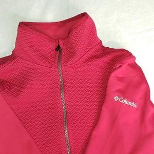 Columbia red Quilted fleece zip sweater NWOT